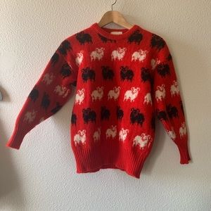 Vintage black sheep wool sweater Princess Diana